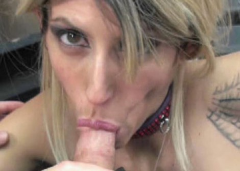 Busty blonde Lavender swallows a cock